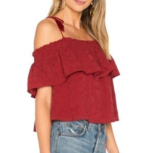 Lovers + Friends Blossom Red Off Shoulder Top